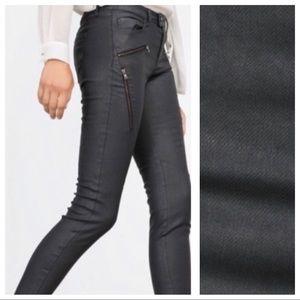 NWT.  Zara Black Moto Biker Skinny Jeans. Size 4.